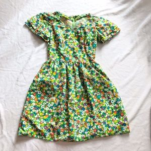 Vintage green dress floral 1960's darling small